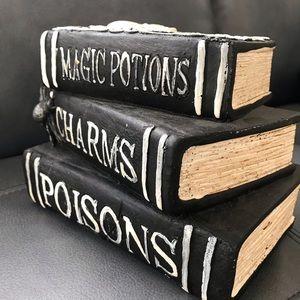 NWOT Ceramic Stacked Magic Book Halloween Decor